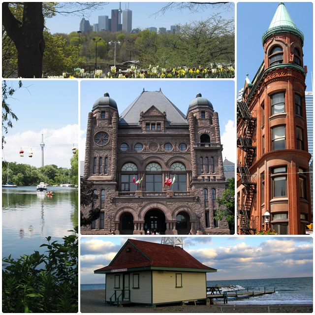 A few Toronto icons: the CN Tower, Queens Park, the Flatiron Building & the Leuty Lighthouse