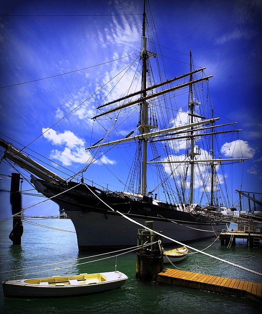 Historic ship at the Galveston Strand