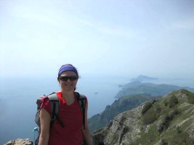 Here is Eva, at the top of Monte San Michele