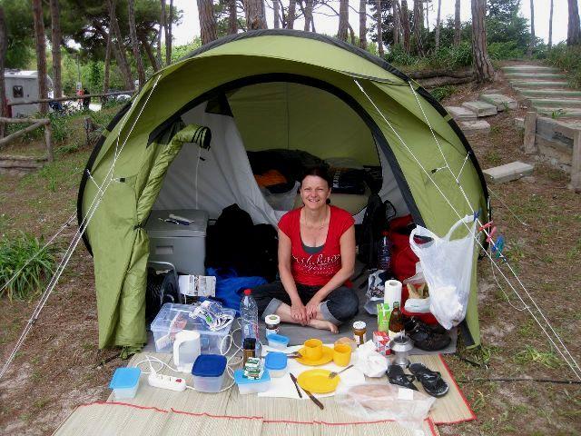 Eva inside her small tent