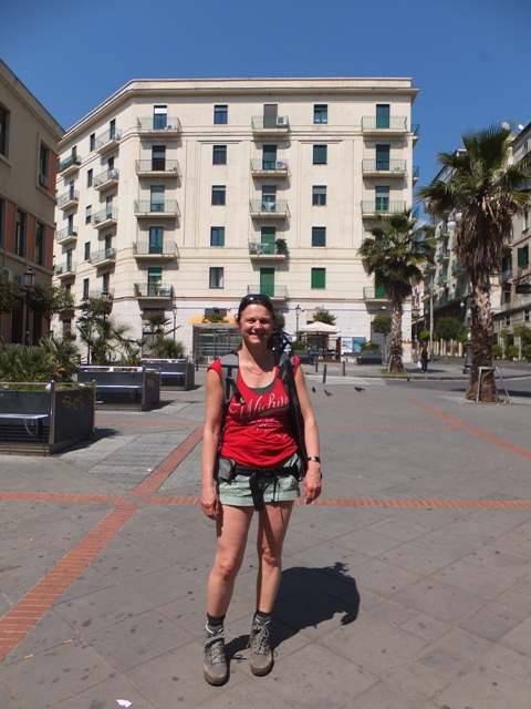 Here is Eva in Salerno, getting ready to for her hike