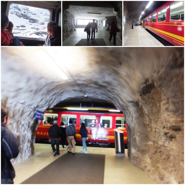 The iconic Jungfraubahn stops inside the mountain