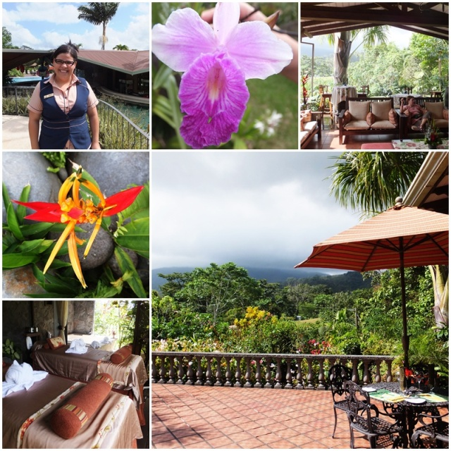 Ruth gives me a tour through the Arenal Springs Resort