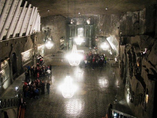 The breathtaking Chapel of St. Kinga inside the Wieliczka Salt Mine