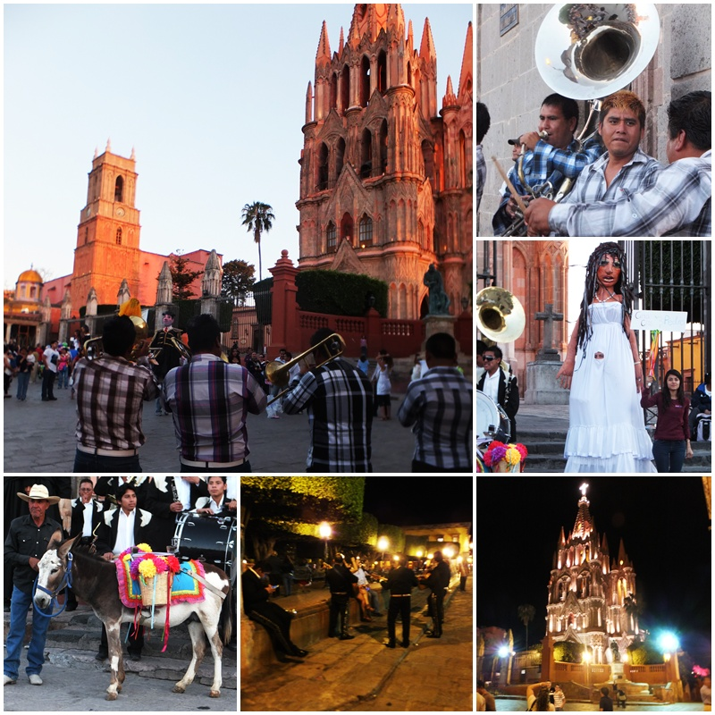 Evening action in El Jardín, the main square of San Miguel de Allende