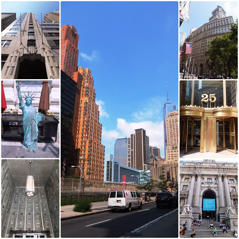 Views of Battery Park and the foot of Broadway in Lower Manhattan