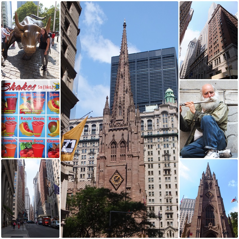 Walking by Bowling Green, past the Charging Bull to Trinity Church