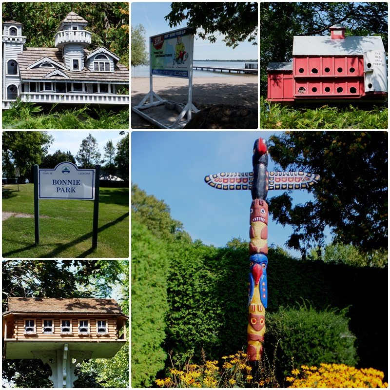 Bird houses and totem poles in Jacksons Point on Lake Simcoe