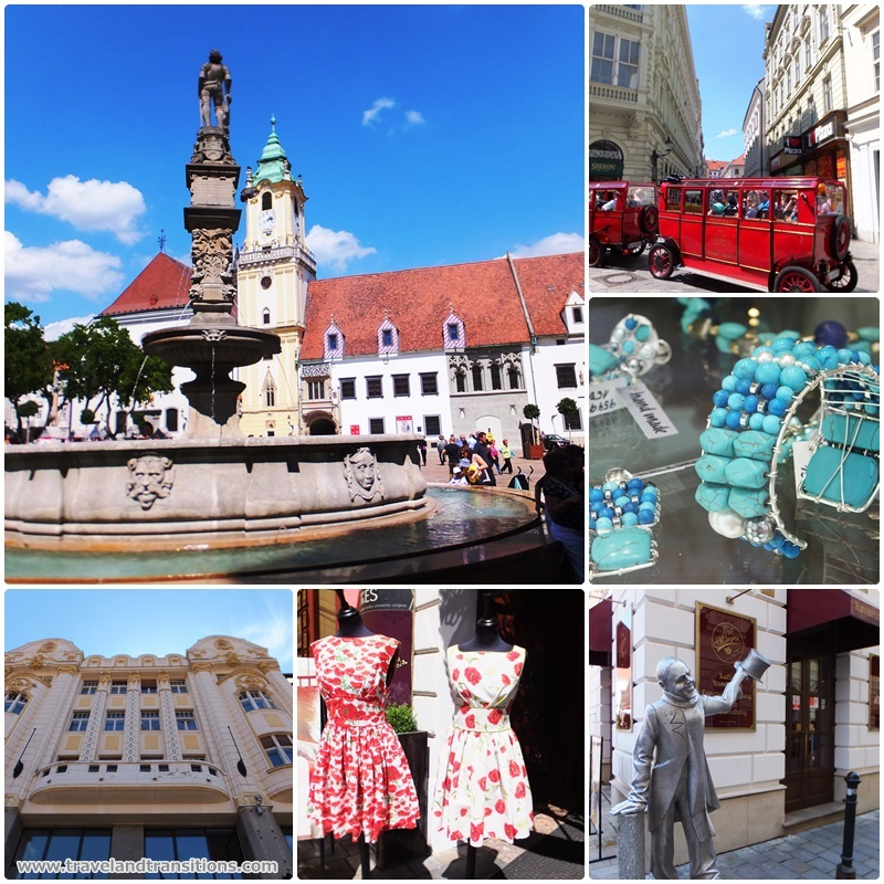 The beautiful main square of Bratislava and the surrounding shopping streets