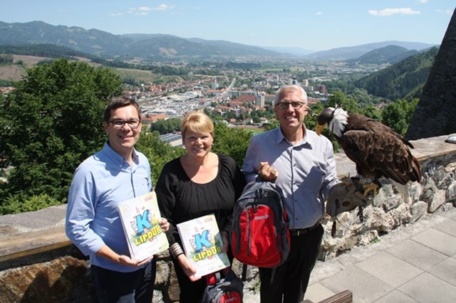Markus Kamper (left) with two friends from Grand Rapids, Michigan, the city that inspired the Kapfenberg Lipdub