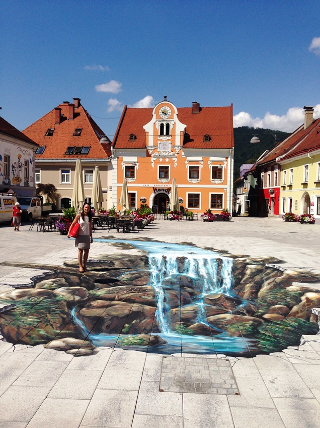 Kapfenberg's beautiful main square features a piece of floor art