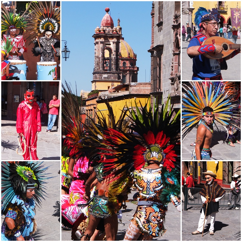 Dancers at the Fiesta del Señor de la Conquista wear colourful costumes and headdresses