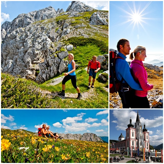 The Hochschwab mountain region and the pilgrimage town of Mariazell are popular destinations