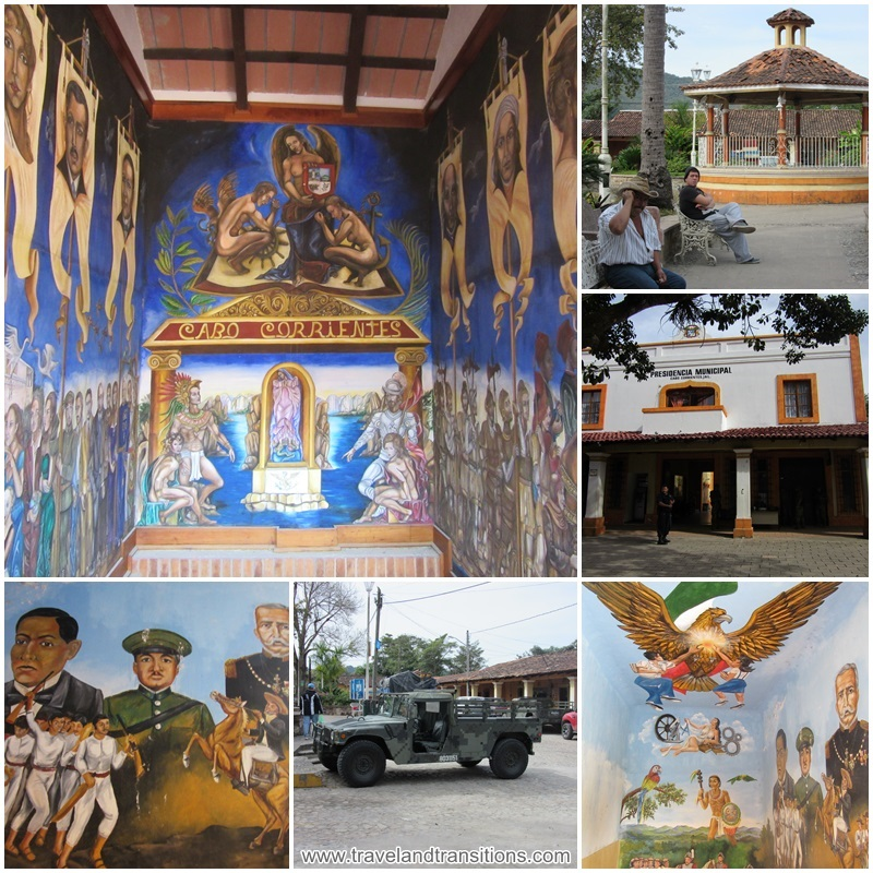 The zocalo, town hall and murals of El Tuito