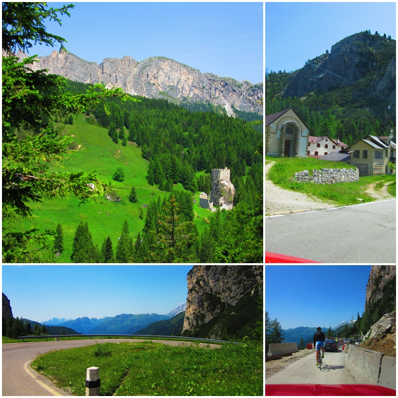Driving through the Italian Dolomites past the Passo di Falzarego