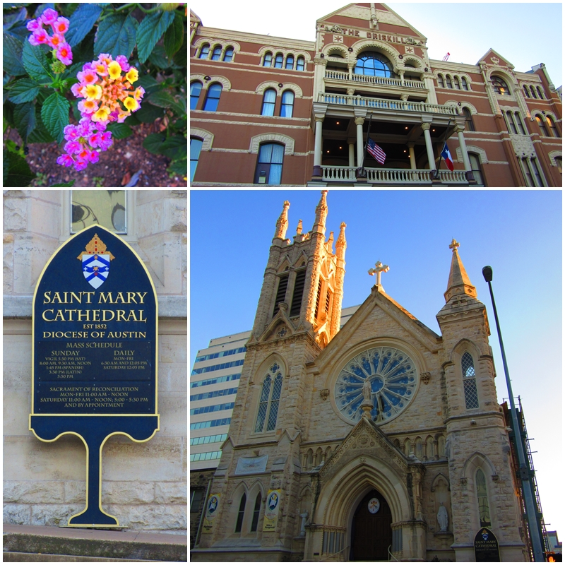 The Driskill Hotel and Saint Mary Cathedral - two Austin landmarks