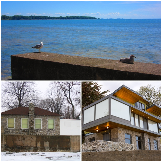 The Old Pumphouse before and after, with a gorgeous view of Lake Erie and Buffalo in the background